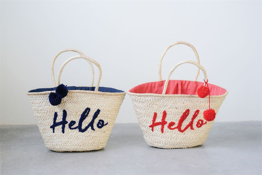 Hello Straw Tote Bag With Pom Poms