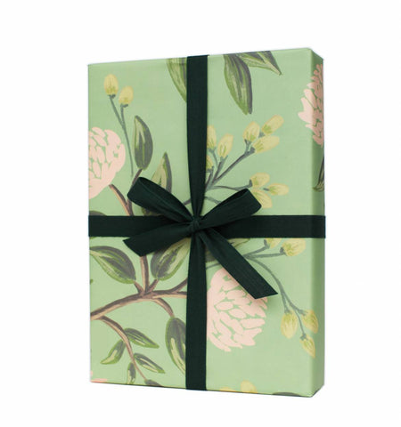 Emerald Peonies Wrapping Sheet