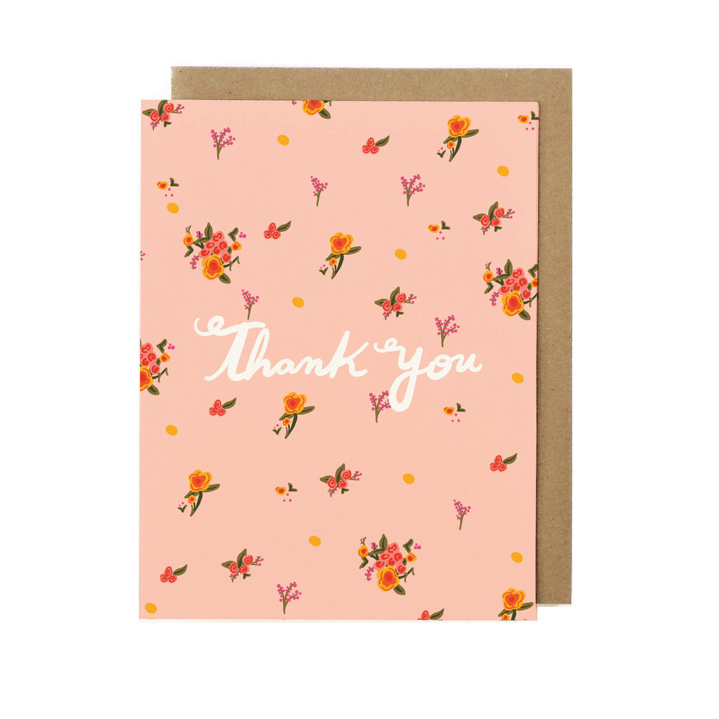 Garden Flowers Thank You Greeting Card