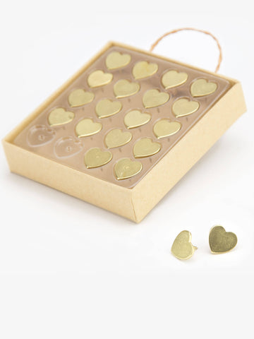 Gold Heart Metal Push Pins