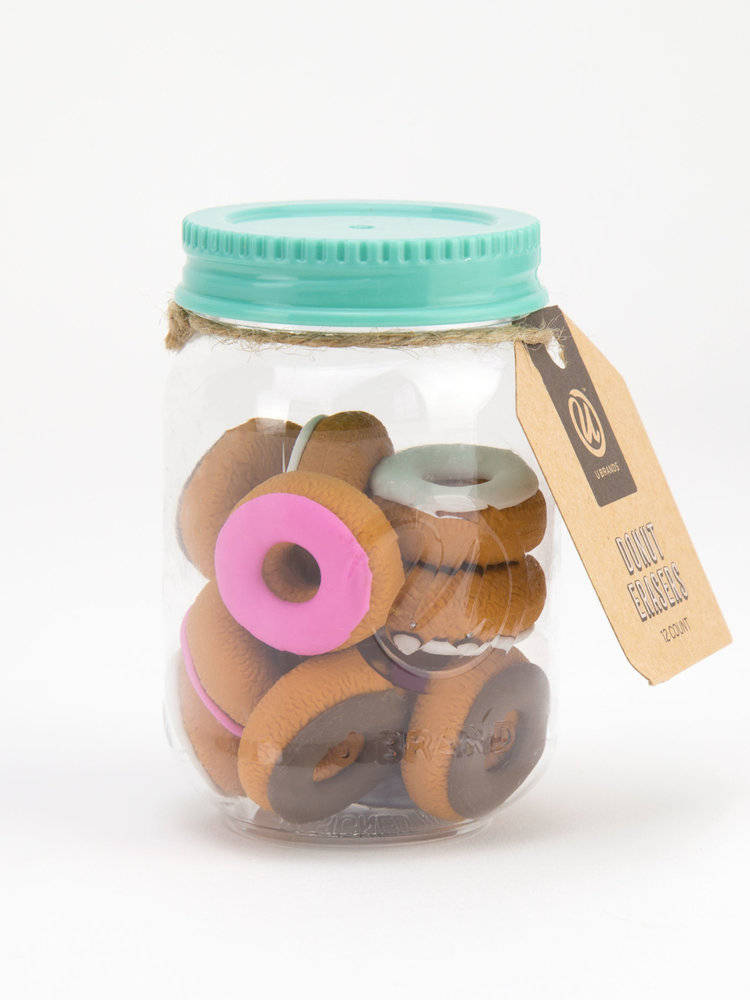 Mason Jar Donut Erasers, Assorted Colors