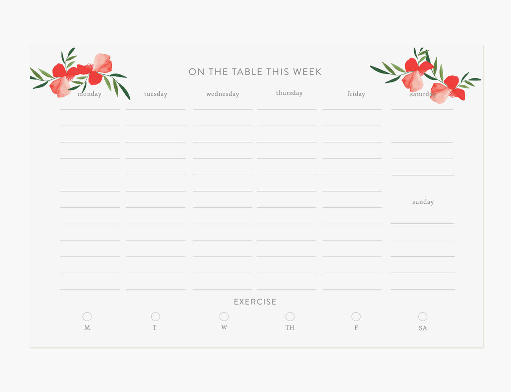 Red Poppy Weekly Meal Planner Notepad