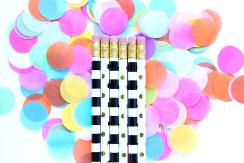 Dots Stripes Pencils Set of 6