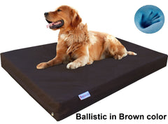 Dogbed4less Premium Orthopedic Cooling Memory Foam Pad Bed in 1680 Nylon Brown Cover