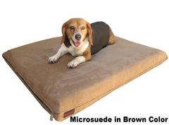 "Dogbed4less 3"" Memory Foam Pet Bed in Microsuede Brown Color"