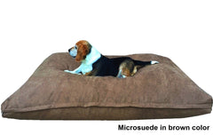 Dogbed4less Shredded Memory Mix Foam Dog Pillow in Microsuede brown cover