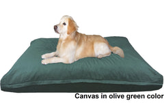 Dogbed4less Shredded Memory Mix Foam Dog Pillow in Canvas olive green cover