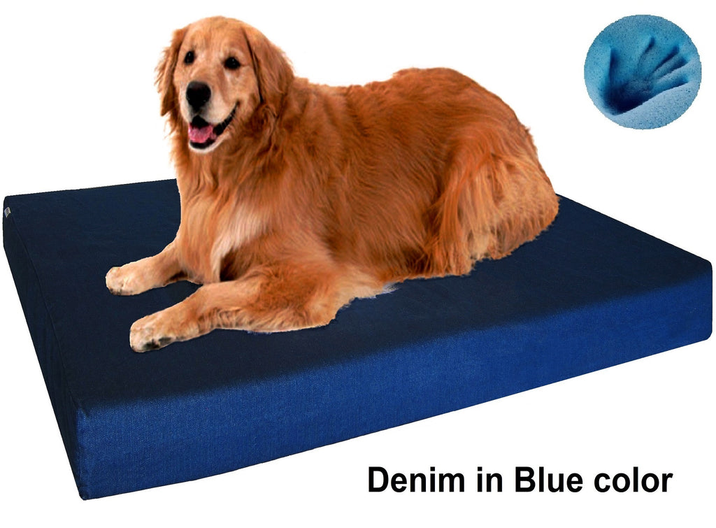 Dogbed4less Premium Orthopedic Cooling Memory Foam Pad Bed in Denim Blue Cover