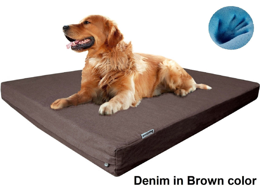 Dogbed4less Premium Orthopedic Cooling Memory Foam Pad Bed in Denim Brown Cover