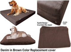 Dogbed4less External Denim Cover in brown