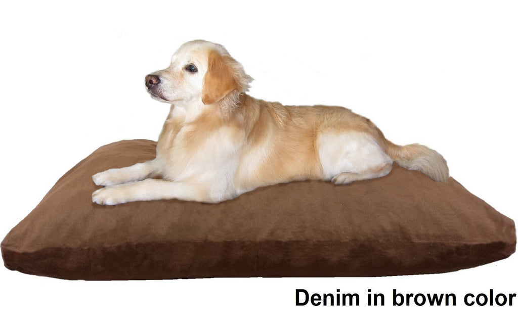 Dogbed4less Shredded Memory Mix Foam Dog Pillow in Denim brown cover