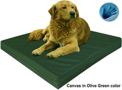 Dogbed4less Premium Orthopedic Cooling Memory Foam Pad Bed in Canvas Olive Green Cover
