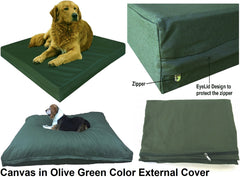 Dogbed4less External Canvas Cover in Olive Green Color