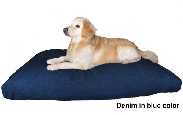 Dogbed4less Shredded Memory Mix Foam Dog Pillow in Denim blue cover