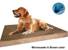 Dogbed4less Premium Orthopedic Cooling Memory Foam Pad Bed in Microsuede Brown Cover