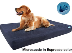 Dogbed4less Premium Orthopedic Cooling Memory Foam Pad Bed in Microsuede Espresso Cover