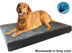 Dogbed4less Premium Orthopedic Cooling Memory Foam Pad Bed in Microsuede Gray Cover