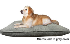 Dogbed4less Shredded Memory Mix Foam Dog Pillow in Microsuede gray cover
