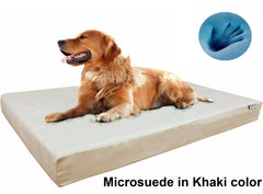 Dogbed4less Premium Orthopedic Cooling Memory Foam Pad Bed in Microsuede Khaki Cover