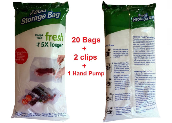20 Packs Vacuum Sealer Food Storage Bags with Hand Pump