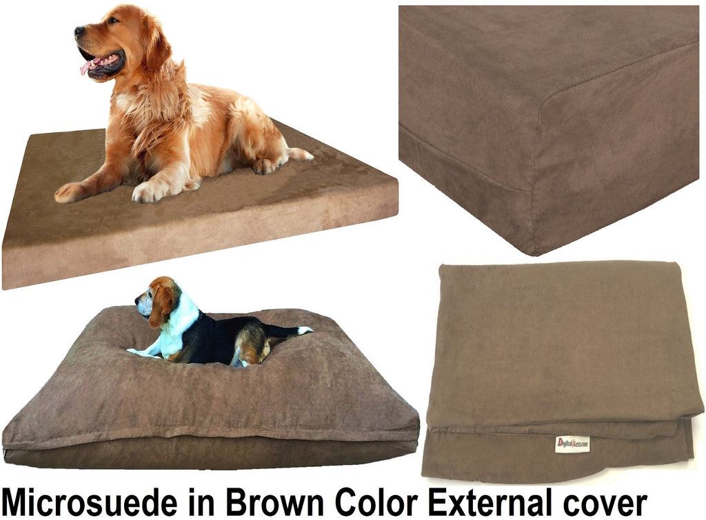 Dogbed4less External Microsuede Cover in brown color