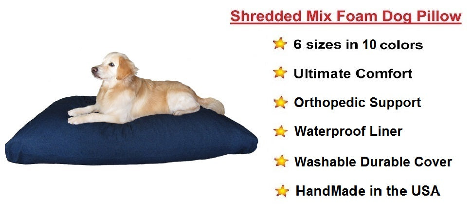 Dogbed4less Shredded Memory Mix Foam Dog Pillow