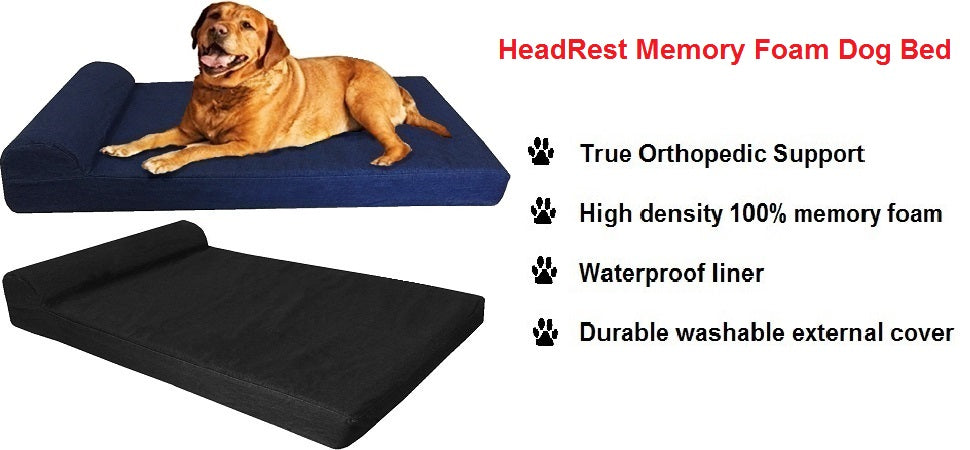 Dogbed4less Head Rest Memory Foam Dog Bed