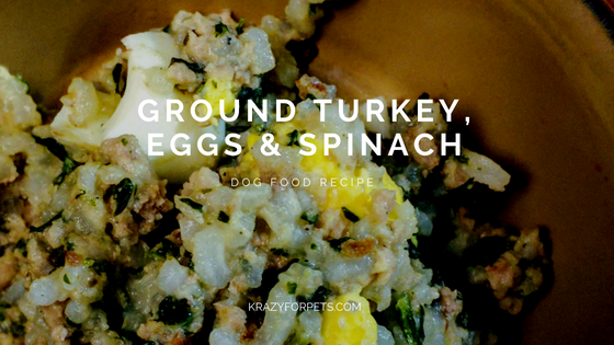 Ground Turkey, Eggs & Spinach Dog Food Recipe