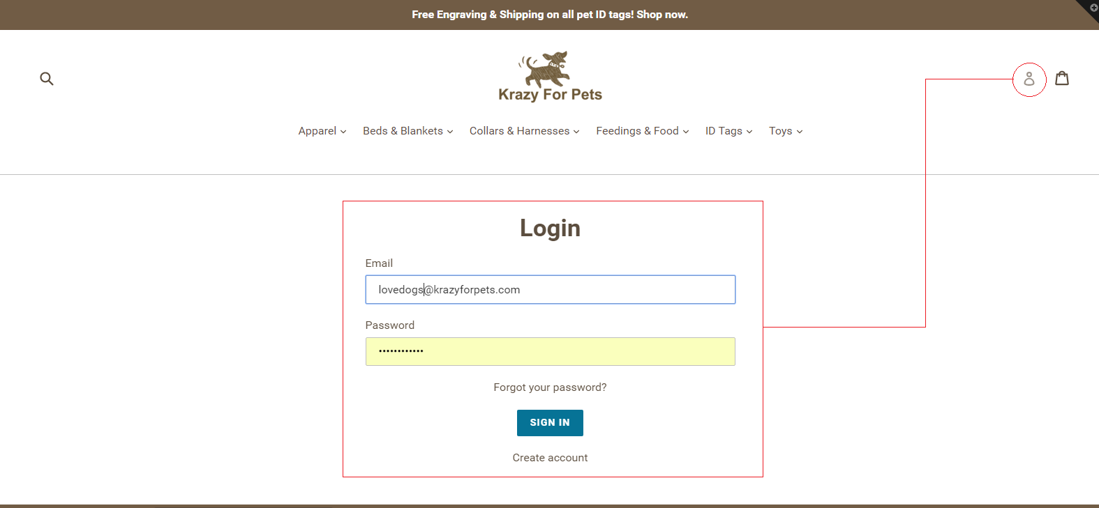 How to create an account at Krazy For Pets