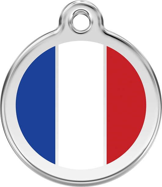 Red Dingo - French Flag ID Tag | Krazy For Pets