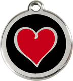 Red Dingo Stainless Steel Pet ID Tags - Red Heart