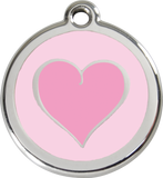 Red Dingo Stainless Steel Pet ID Tags - Pink Heart