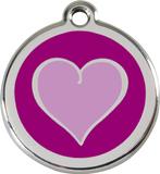 Red Dingo Stainless Steel Pet ID Tags - Purple Heart