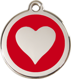 Red Dingo Stainless Steel Pet ID Tags - Heart