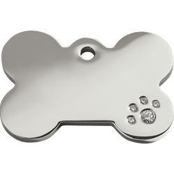 Red Dingo - Bone Diamante ID Tag | Krazy For Pets