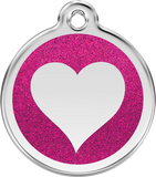 Red Dingo Stainless Steel Pet ID Tags - Glitter Heart