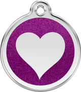 Red Dingo - Glitter Heart ID Tag | Krazy For Pets