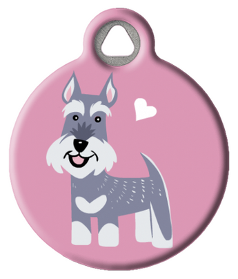 Dog Tag Art - Schnauzer Dog ID Tag by Lili Chin | Krazy For Pets