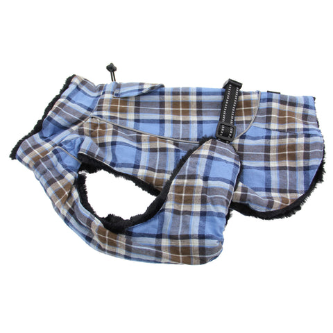 Doggie Design - Flannel Brown & Blue Plaid Alpine All-Weather Coat | Krazy For Pets