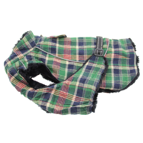 Doggy Design - Flannel Green & Navy Blue Plaid Alpine All-Weather Coat | Krazy For Pets