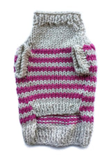Sam's Wardrobe - Pink Striped Puppy Sweater | Krazy For Pets