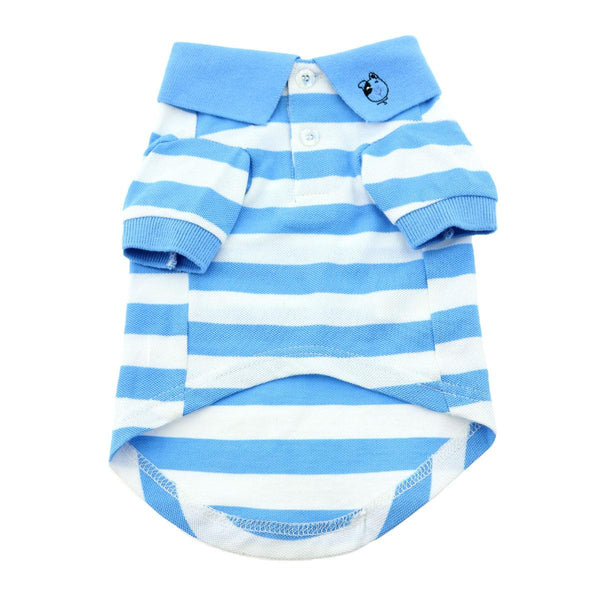 Doggy Design - Blue Niagara & White Striped Polo Shirt | Krazy For Pets