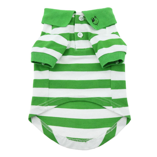 Doggie Design - Greenery & White Striped Polo Shirt | Krazy For Pets