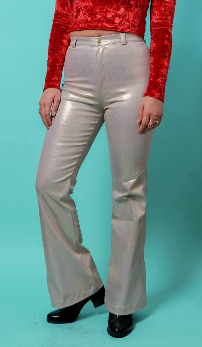 gold pants disco bell bottoms vintage style flares