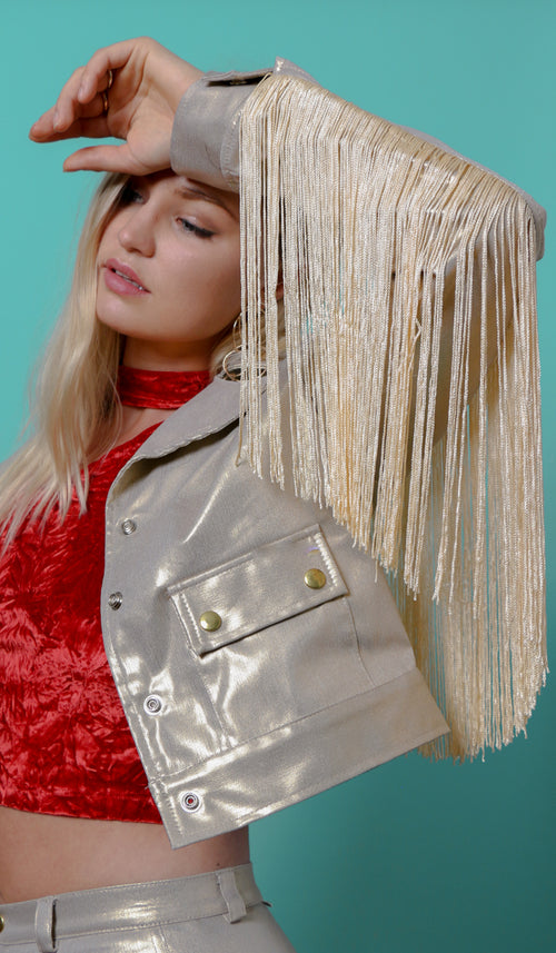 fringe jacket disco gold tassel