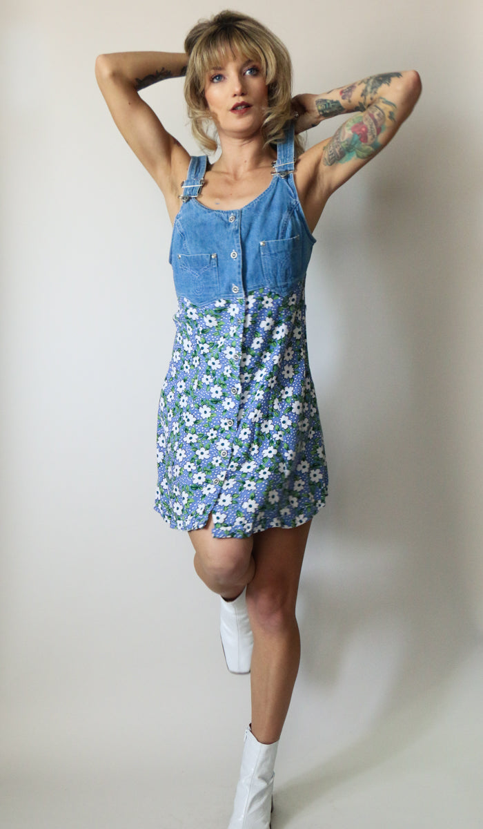 90's Floral Denim Mini Dress Size S/M