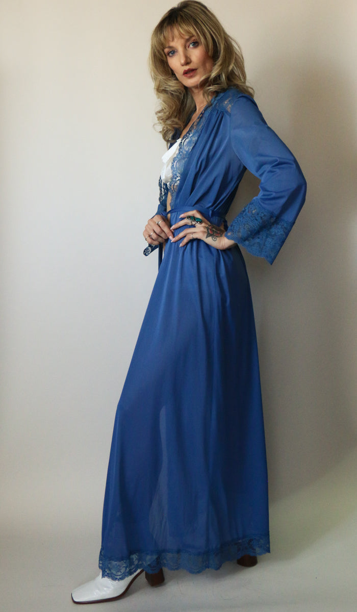 70's Midnight Blue Floor Length Lace Robe