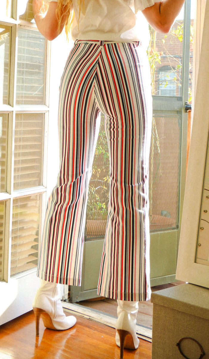70s Striped Pants Deadstock Fabric Blue Red White Cropped Flares Made in LA Wallflower San Francisco
