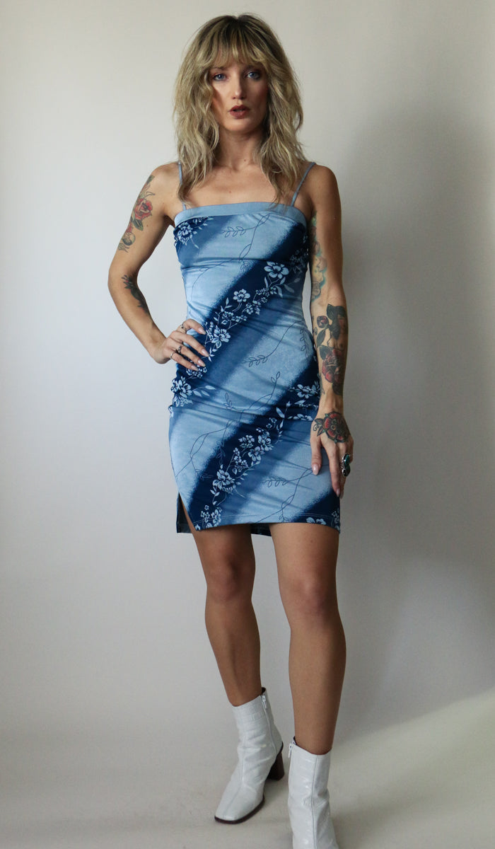 90's Blue Floral Mini Dress Size XS