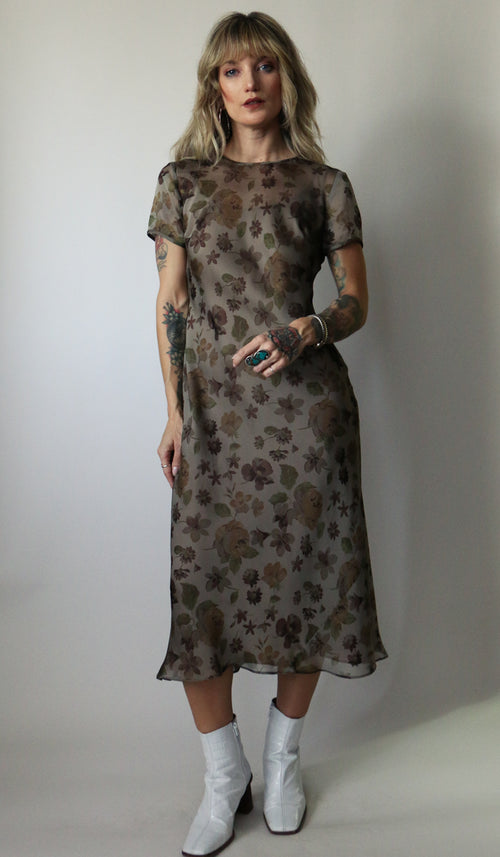 90's Brown Floral Midi Dress Size XS